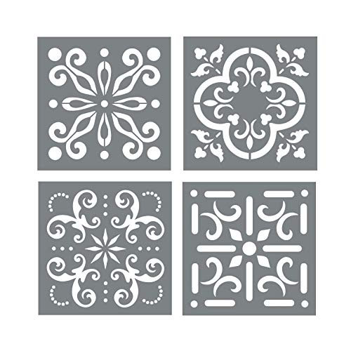 - Mexican Tile Stencil Set - Pack of Four 4x4 Tile Stencil Designs for Painting - Wall or Floor Tile Stencil Designs - for Making Mosaic Tile Stencil Patterns