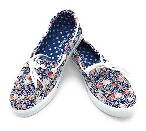 EASY21 Canvas Lace Up Flat Slip On Boat Comfy Round Toe Sneaker Tennis Shoe,Blue Rose Floral,Size 9