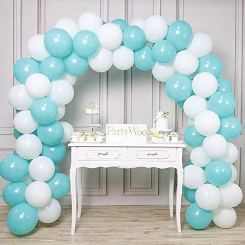 LAttLiv Blue and White Balloons 100 pcs 12 inch Turquoise Balloons Teal Balloons White Balloons Party Balloons for Boys Baby Shower, Boys Christening, Boys Birthday, Teal Wedding, Teal Baby Shower