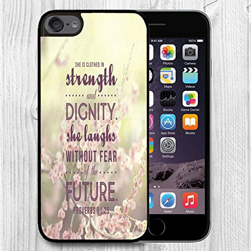 for iPod Touch Case,iPod 6 Black Case, FTFCASE Case TPU Rubber Gel Design for Apple iPod Touch 6th Generation - Bible Verses Proverbs 31:25/ Pink Flower (Alabama Ipod Touch Case)