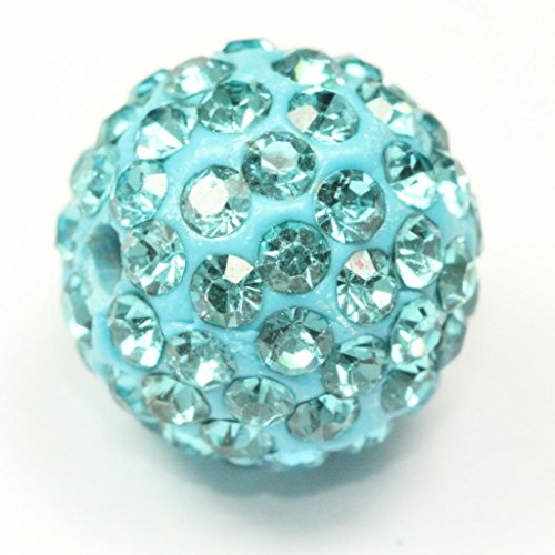 5pcs x 12mm Beautiful Sparkle Shamballa Style Disco Ball With Aqua Austrian Crystal Charm Spacer Beads - Topaz Disco Ball
