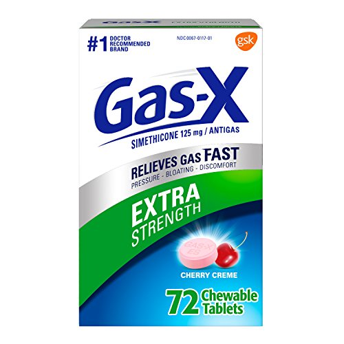 Gas-X Extra Strength Cherry Chewable Tablet for Fast Gas Relief, 72Count (Strength Extra Chewable)