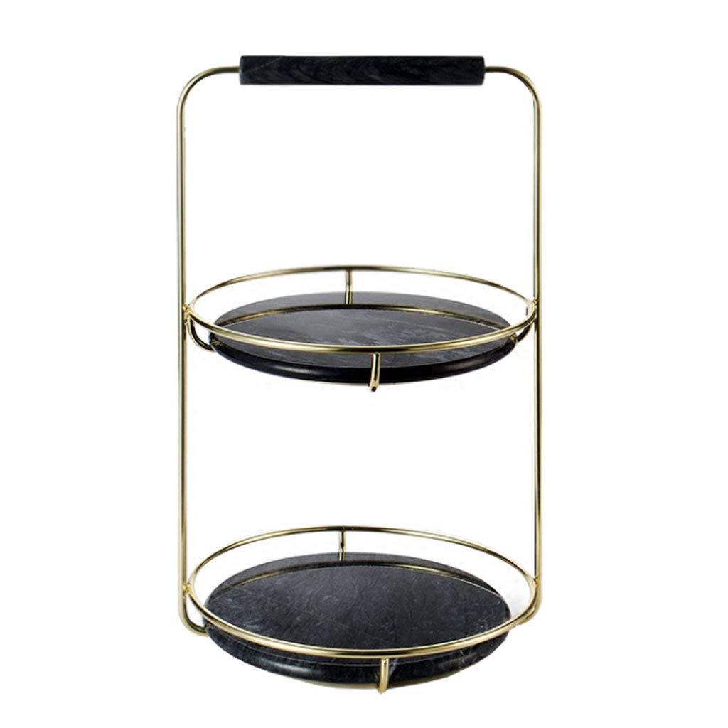 ファッションブラック多層メタルフルーツボウルプレートバスケットフルーツラックケーキパンキッチンリビングルームの家の装飾 (色 : 黒)  黒 B07MX6RZSC