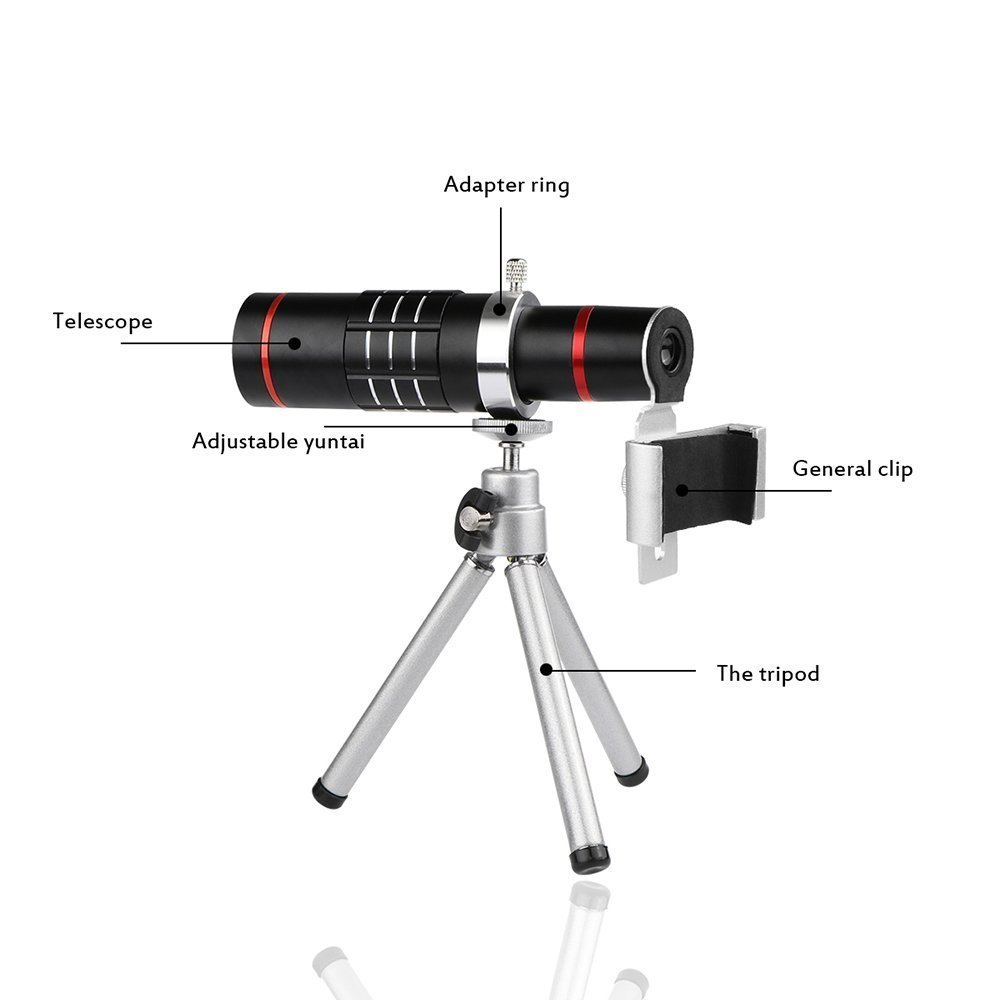Telescope Camera Lens WOHENI Universal 18x Zoom Camera Lens Optical Mobile Lens Kit with Aluminu Mini Tripod for iPhone Sansung LG and More (18x-Black) 4326945376