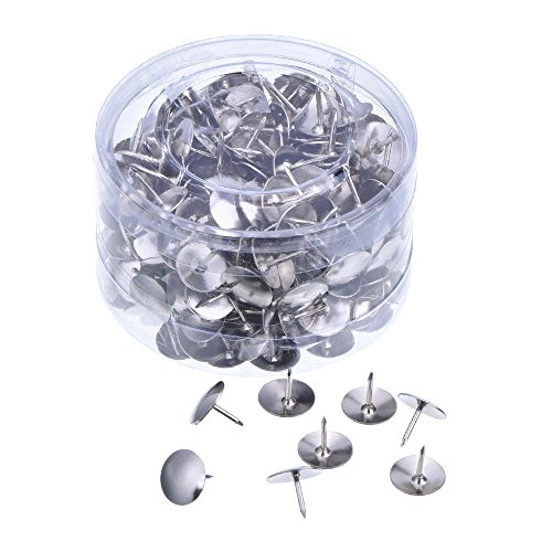 Outus Silver Steel Thumb Tacks for Office, DIY, Hanging Memos and Pictures Box of 300
