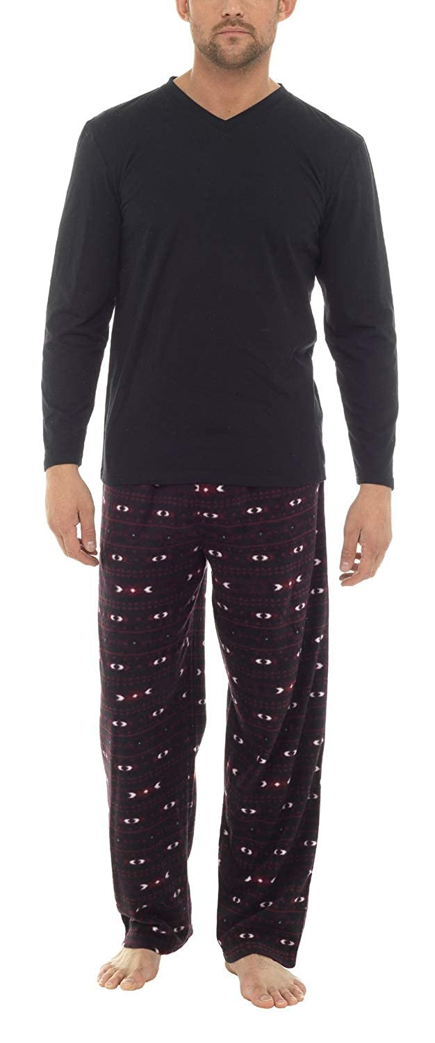 Men's Winter Pyjama's Jersey Top Supersoft Fleece Trousers in Fairisle Print (S - 8XL) HT051RPA
