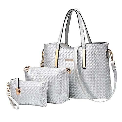 Las Mujeres 3 Piezas De La Bolsa De PU Pu Cuero Tejido Bolso Bolsa De Hombro Bolsa Satchel Multicolor Silver