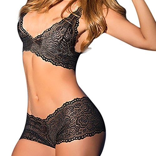 Women Sexy Lace Lingerie, Keepfit Flowers Underwear Set Push Up Top Bra Pants (S, Black) (Strap On Bra)