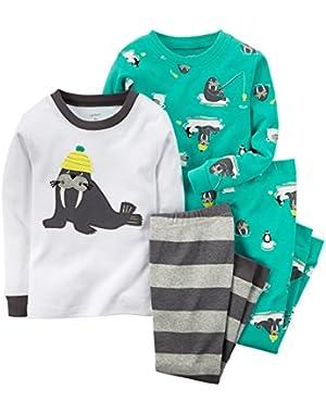 Carter's Baby Boys' 4 Piece Cotton Snug Fit-Walrus (6m, Green)