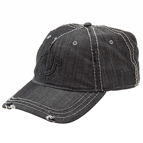 True Religion Men's Distressed Horseshoe Baseball Cap, Black, One Size