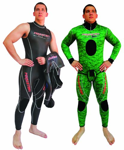 Reversible Wetsuit - Persistent Defender Reversible Spearfishing Wetsuit-Piece of 2 (Black/Green, Small/4.5-mm)