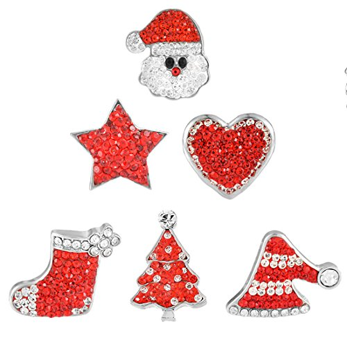 - Souarts Mixed DIY Snap Button Jewelry Charms Christmas Father Santa Claus Stocking Tree Star Heart Pack of 6pcs