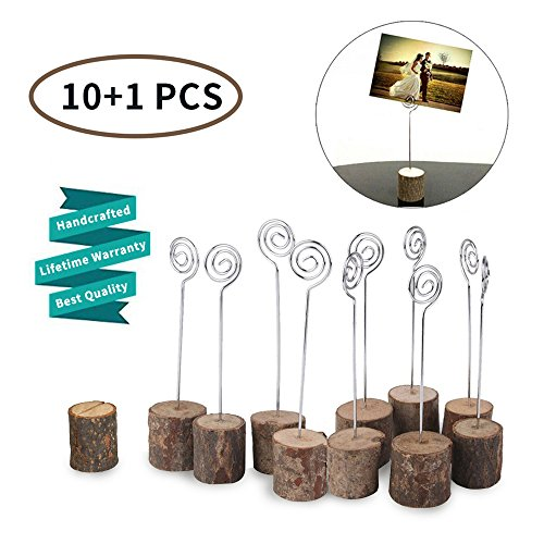 Wedding Wooden Rustic Place Card Holders Ocean-City Name Card Paper Note Clip Photo Holder Table Number Stands for Home Party Christmas Decorations ( 10 Pack)