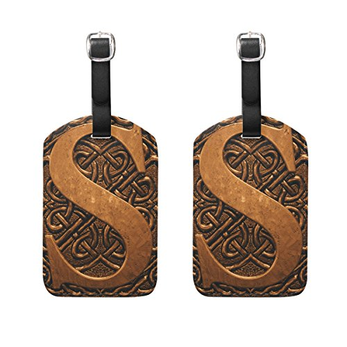 Set of 2 Luggage Tags Vintage 3D Letter S Suitcase Labels Travel Accessories ()