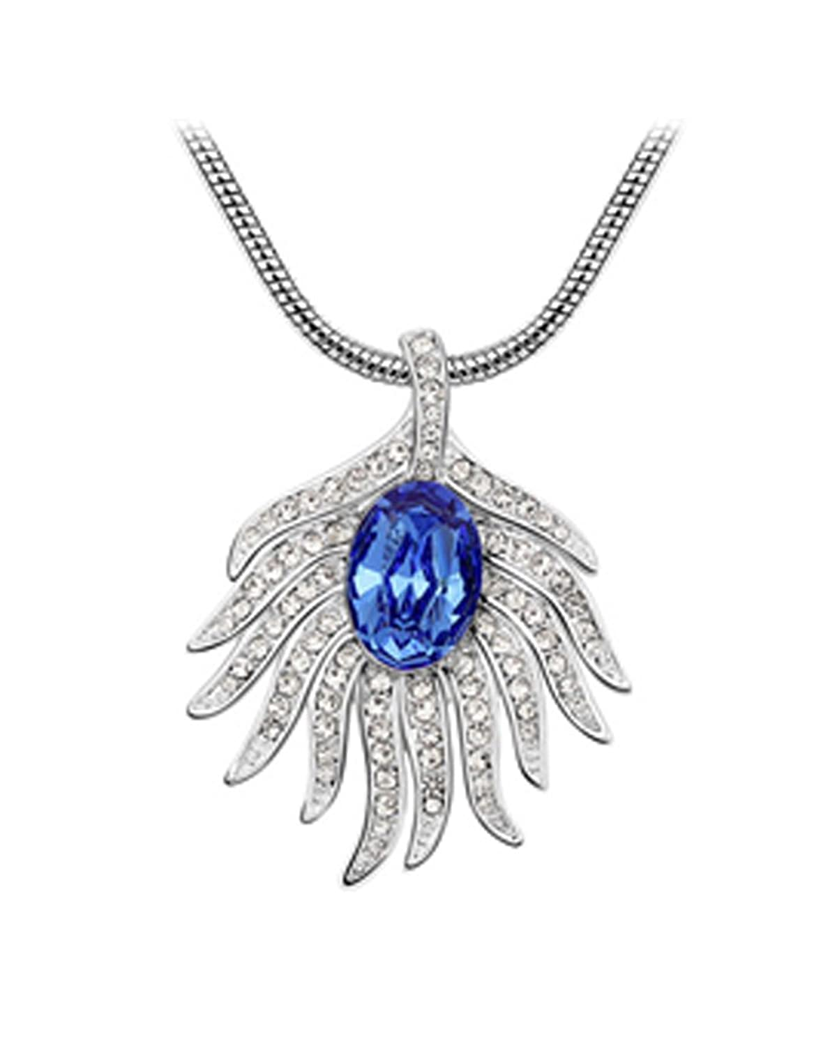 Blue Leaf Cubic Zircon Pendant Necklace Made With Swarovski Elements 18k White Gold Plated