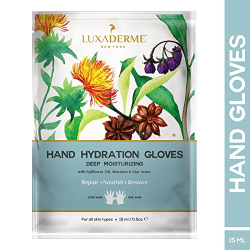 LuxaDerme Deep Moisturizing - Hand Hydration Gloves Infused With Serum Containing Safflower Seed Oil, Allantoin, Botanical Extracts & Anti-Oxidants For Soft, Smooth & Supple Hands
