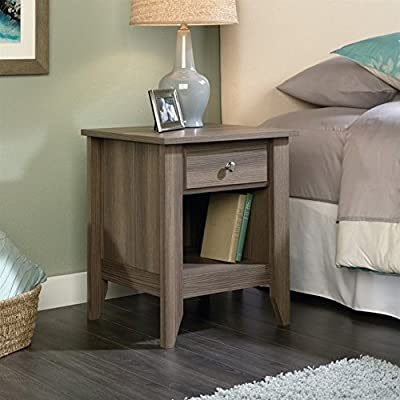 Sauder Shoal Creek Night Stand, Diamond Ash finish - Drawer features easy-glide metal runners Open shelf provides additional storage Quick and easy assembly with patented slide-on molding - nightstands, bedroom-furniture, bedroom - 51v1lTnm78L. SS400  -