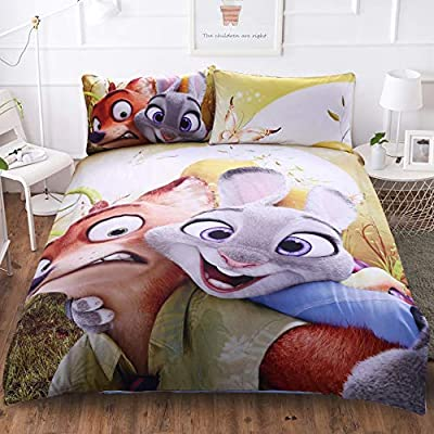 EVDAY Zootopia Duvet Cover Set for Kids Bed Set Super Soft Microfiber Polyester Cute Cartoon Bedding 3Piece Including 1Duvet Cover,2Pillowcases Twin Size: Home & Kitchen