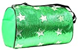 Private Label Girls Nylon Dance Duffle Bag with Sequin Stars, Lime Green For Sale