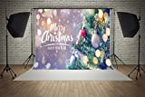 7x5ft Microfiber Merry Christmas Happy New Year White Snow Party Decorations Photo Booth Background Seamless Collapsible Washable and No Creases Photography Backdrop
