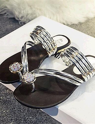 Mujer oro Zapatos Bajada Para Pantuflas Negro Goma Lässig Sandaletten Shangyi De Sandalias Dorado plata Tacón EZfHqE