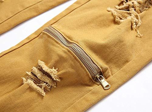Elasticizzati Khaki Kaki Jeans Denim Pantaloni Fori Retrò Con Abbigliamento Skinny Adelina Vita Strappati In Uomo Casual Da A Media 0pUqwC