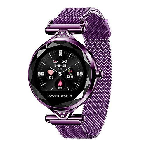 (TYewa98556 Smart Teconology Round Dial Metal Mesh Band Heart Rate Blood Pressure Alarm Women Smart Bracelet - Purple)
