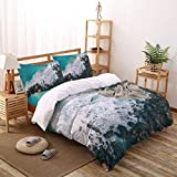 Monroda Duvet Cover Set,4 Piece(1 Bed Sheet+1 Quilt Cover+ 2 Pillowcases),Ultra Soft and Easy Care,Clear Ocean Waves Coast Reef Full Size Bedding Sets with Zipper Closure and Ties