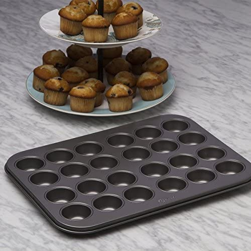 """BPA Gray Dishwasher Safe Ecolution Bakeins 24 Mini Muffin and Cupcake Pan Heavy Duty Carbon Steel 13.5/"""" x 10.25/"""" x .75/"""" EIGY-3824 PFOA and PTFE Free Non-Stick Coating"""