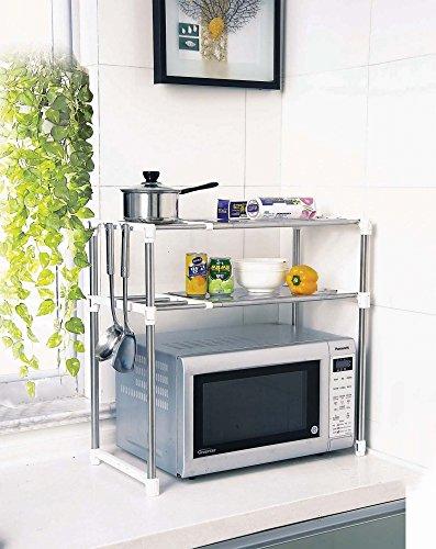 get aojia microwave oven rack kitchen shelves 8204 2white deal. Black Bedroom Furniture Sets. Home Design Ideas