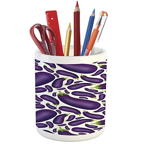 - Pencil Pen Holder,Eggplant,Printed Ceramic Pencil Pen Holder for Desk Office Accessory,Delicious Aubergines in Abstract Representaiton Fresh Dish Healty Food Vegetable