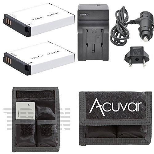 2 SLB-10A Rechargeable Batteries + Car / Home Charger + Acuvar Battery Pouch for Samsung WB150F, WB250F, WB350F, WB500, WB550, WB750, WB850F, WB800F, WB1100F, WB2100, HMX-U100, HMX-U100UN, HMX-U100SN and Other Models  (Tamaño: 2 Batteries + Charger + Kit)
