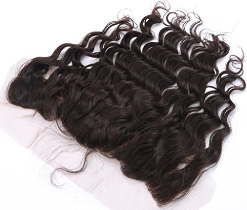 Brazilian Hair Deep Wave Lace Frontal Closure 13x4 Free Part with Baby Hair Bleached Knots Natural Color 12 Inch by HCremy Hair (Image #1)