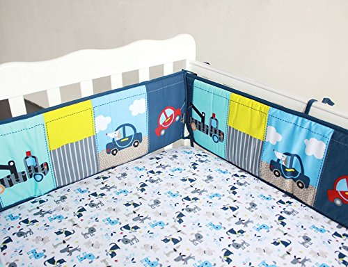 NAUGHTYBOSS Boy Baby Bedding Set Cotton 3D Embroidery Submarine Car Dog Rockets Quilt Bumper Mattress Cover 7 Pieces Set Blue Patchwork by NAUGHTYBOSS (Image #6)