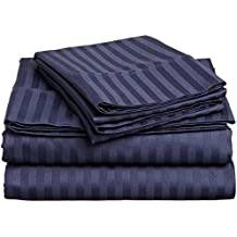 Crafts Linen 4 Piece Sheet Set- 100% Natural Cotton 400 TC Fit Mattress Up To 12-Inch-Deep Pocket, Feel Ultra-Soft, Comfortable And Eco-Friendly Sheets (Full, Navy Blue Stripe)