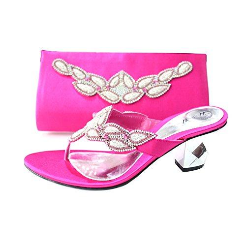 W un à Soir et Sac W femmes amp; de Chaussures bloc Taille Diamante de 4 enfiler mariage confort talon Assorti santal Mesdames bois Chaussures r08Prq