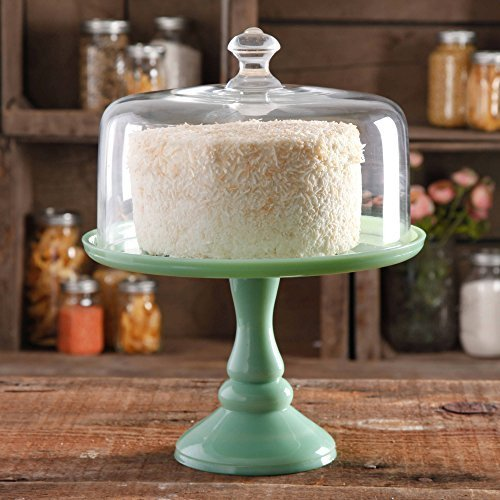 The Pioneer Woman Timeless Beauty 10 Cake Stand with Glass Cover, Glass construction, Green and Clear (1)