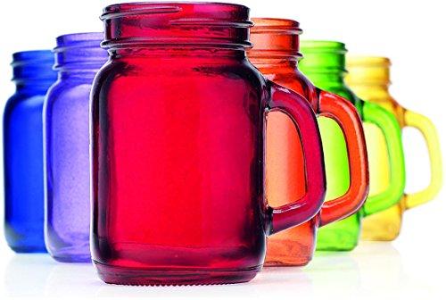 - Palais Mason Jar Shot Glasses - Holds 4.5 Oz - Set of 6 (Full Colored)
