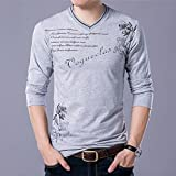 Men's T- Shirts V Neck Long-Sleeved Autumn Middle-Aged Men's Clothing Korean Version Slim Fit Tops Fashion Casual Comfortable Shirt (Color : 3, Size : L)