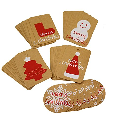 Souarts Christmas Kraft Paper Cookie Bakery Candy Biscuit Roasting Gift Tags Pack of 50pcs (Mix)