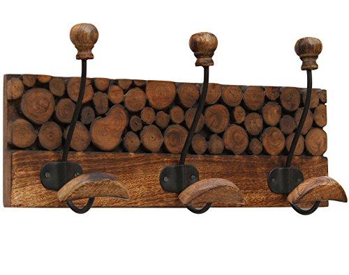 SouvNear Large Vintage Triple Hook Rack in Wood & Wrought...