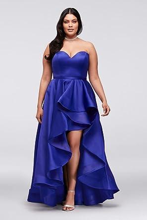 Davids Bridal Satin Sweetheart High Low Plus Size Prom Dress Style