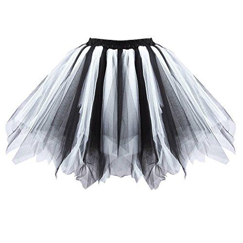 Honeystore Women's Short Vintage Ballet Bubble Puffy Tutu Petticoat Skirt Black and White - White Tutu Costume Ideas