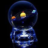 (US) IFOLAINA Clear Solar System 80mm Crystal Ball With Stand (with cystal led light stand)