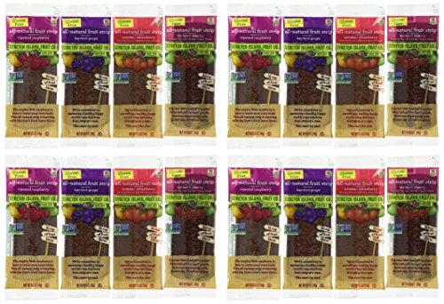 Stretch Island All-Natural Gluten Free Fruit Strips 4 Flavor 16 Snack Variety Bundle: (4) Stretch Island Ripened Raspberry, (4) Stretch Island Orchard Cherry, (4) Stretch Island Summer Strawberry, and (4) Stretch Island Harvest Grape, .5 Oz. Ea. (16 Snacks Total)