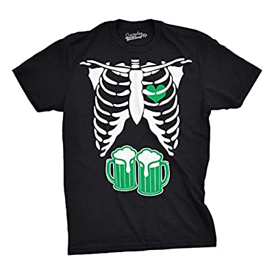 Mens St. Patrick's Day Skeleton Green Beer Ribcage Funny Irish Drinking T shirt