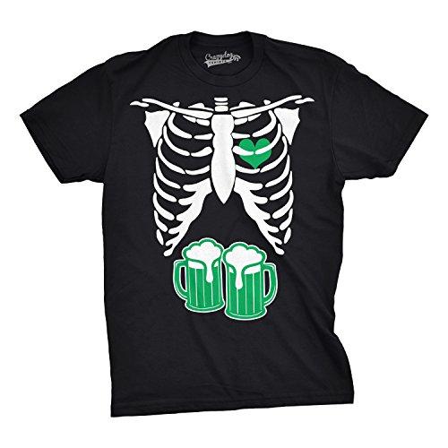 Funny Irish Design Black T-shirt (Crazy Dog T-Shirts Mens ST. Patrick's Day Skeleton Green Beer Ribcage Funny Irish Drinking T Shirt (Black) L)