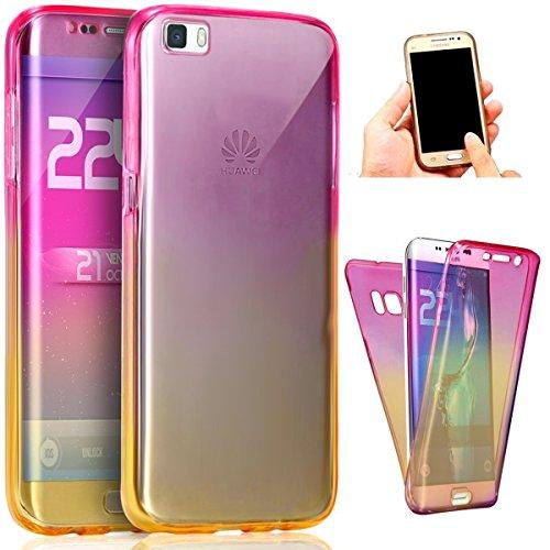 Carcasa para Huawei P8 Lite, Funda Huawei P8 Lite 360 Grados, EUWLY Full Body Delantera y Trasera Doble Protección Completa Cover Caso Ultra Delgado Degradado de Color Diseño Flexible Suave Transparen Rosa+Amarillo