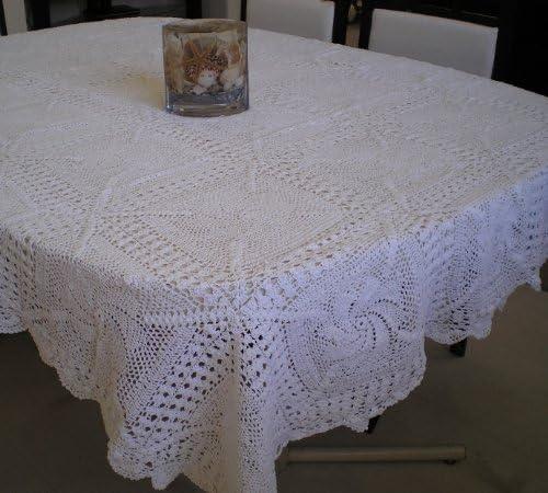 Cottage Decor White Crochet Lace Tablecloth Handmade, White Tablecloth Crochet Tablecloth