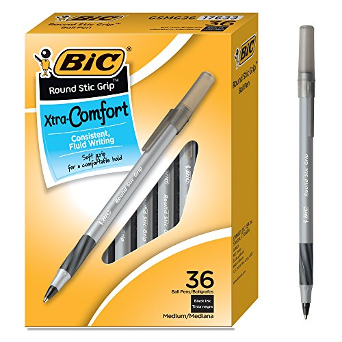 BIC Round Stic Grip Xtra Comfort Ballpoint Pen, Medium Point (1.2mm), Black, 36-Count